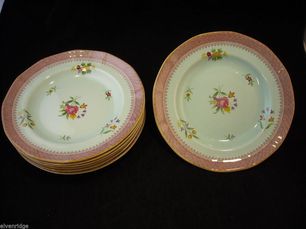 "Adams Lowestoft 7 8"" salad plates  Calyxware English Ironstone China"