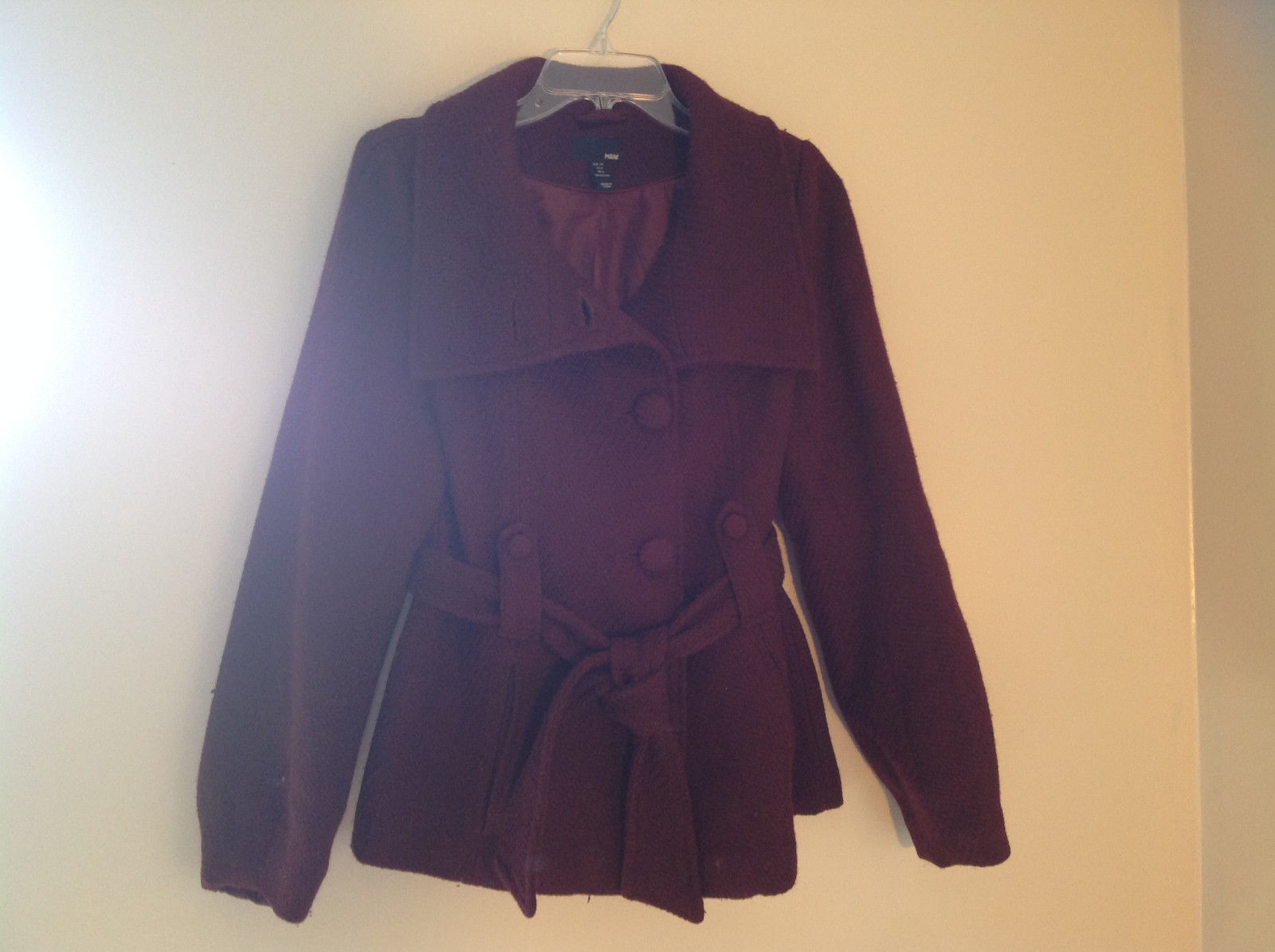 Adorable H and M Maroon Patterned Fabric Belted Peacoat Front Pockets Size 6