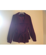 Adorable H and M Maroon Patterned Fabric Belted Peacoat Front Pockets Si... - $35.63