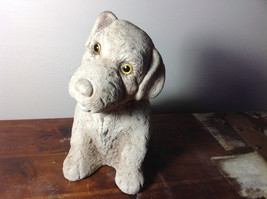 Adorable Large Clay  Dog Figurine Rough Heavy Solid Made in England