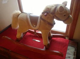 Adorable Brown Rocking Horse with Saddle Stirrups Neighs when ear is squeezed