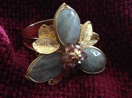 Adjustable Labradorite Stone Flower Ring Prudence C art for your finger