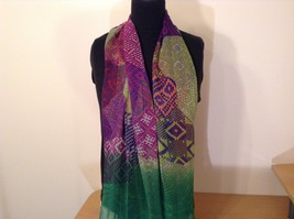 Abstract art scarf in mosaic pattern multicolor and base color choice image 6