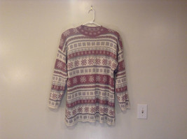 Adrian Jordan White Gray Dust Violet Snowflake Pattern Sweater Size 2X