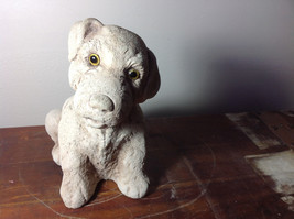 Adorable Large Clay  Dog Figurine Rough Heavy Solid Made in England image 5