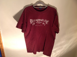 Aeropostale Burgundy Graphic Short Sleeve T-Shirt 100 Percent Cotton Size Large