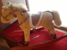Adorable Brown Rocking Horse with Saddle Stirrups Neighs when ear is squeezed image 7