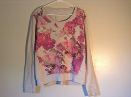 Aeropostale Gray Sweatshirt with Pink Flowers on Front Long Sleeve Size Large