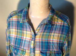 Aerie Plaid Button Down Long Sleeve Collared Shirt 2 Front Pockets Size Large image 2