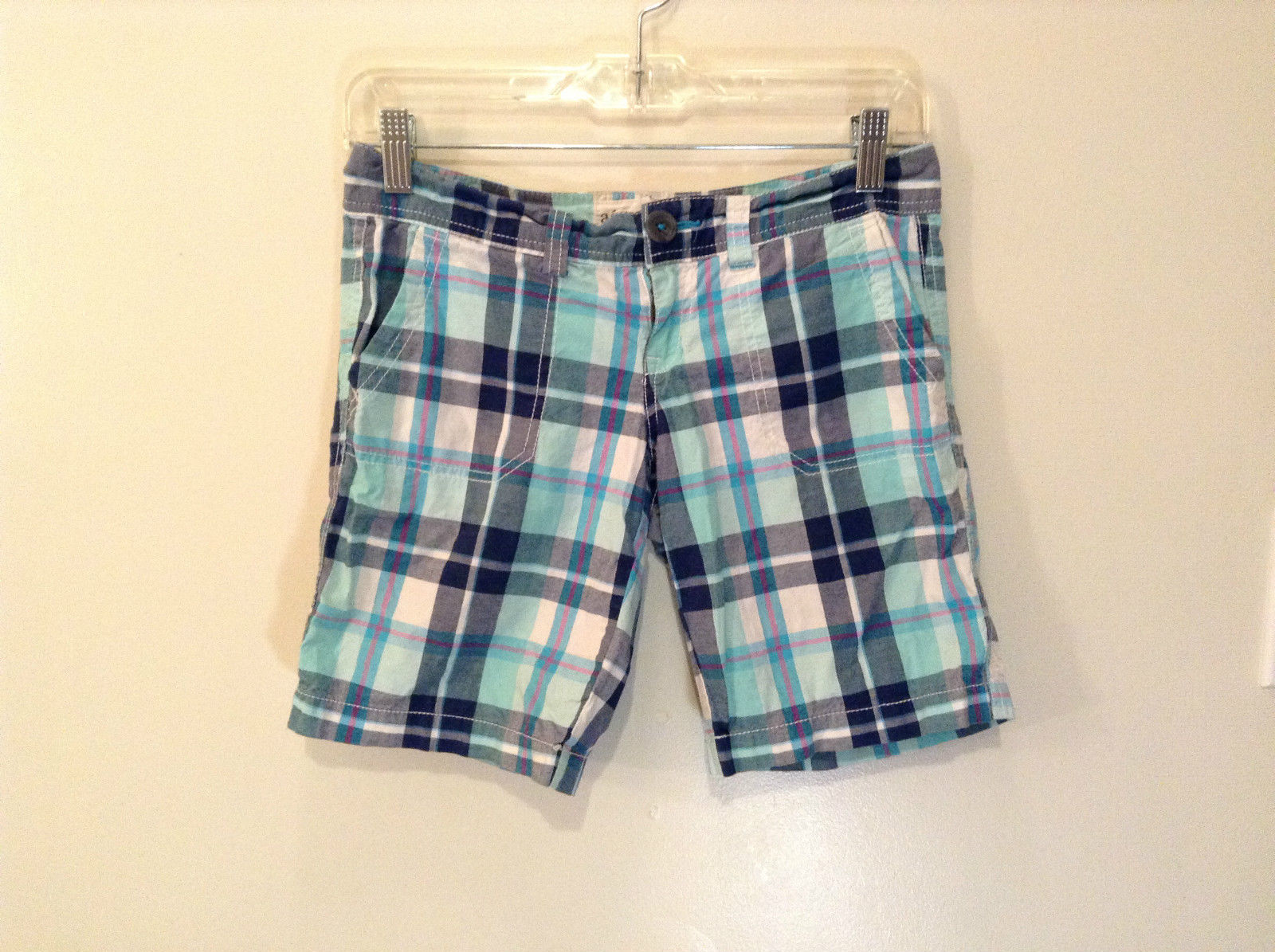 Aeropostale Turquoise Blue Plaid Shorts Size 1 to 2 Front and Back Pockets