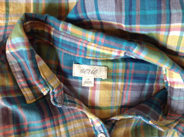 Aerie Plaid Button Down Long Sleeve Collared Shirt 2 Front Pockets Size Large image 8