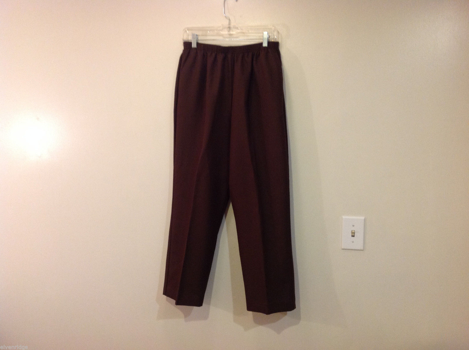 Alfred Dunner Dark Brown Elastic Waist 100% Polyester Casual Pants, Size 14