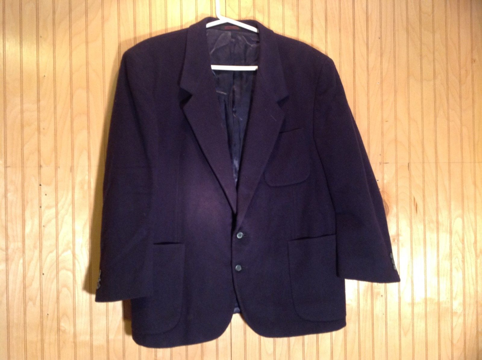 Aldo DiFirenze Black Sports Coat Blazer Dark Purple Satin Inside Size 44
