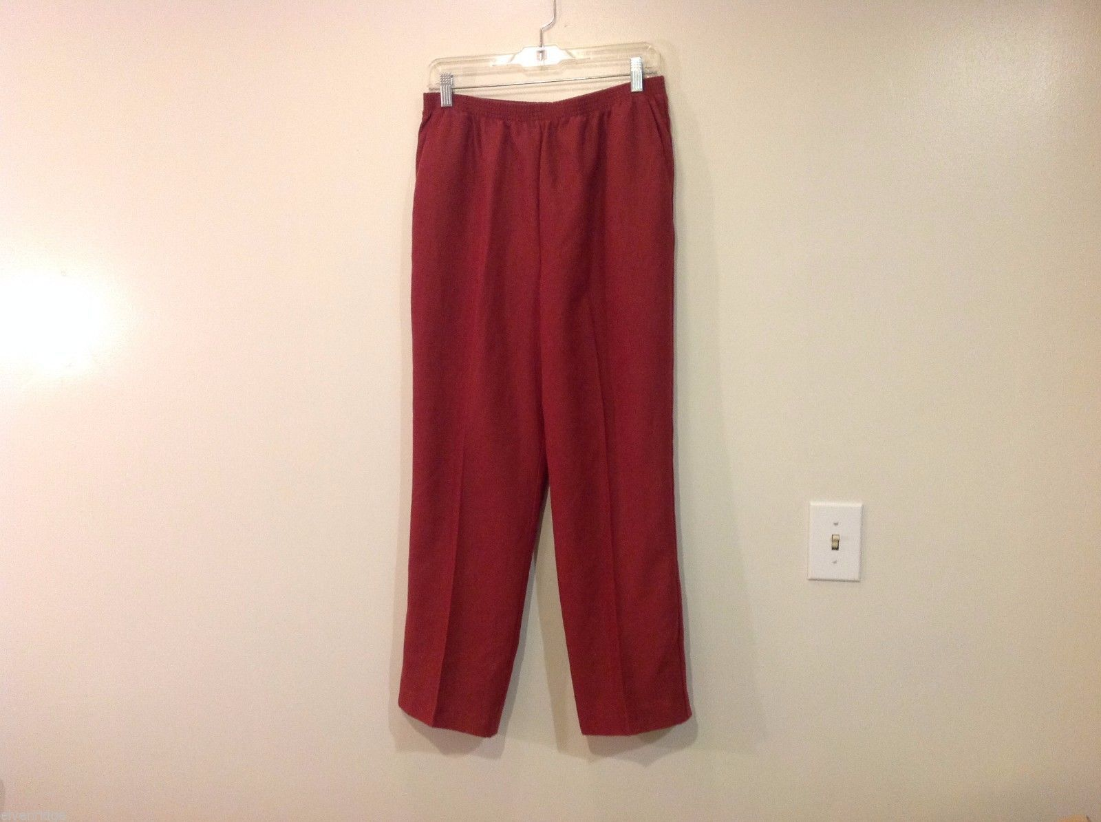 Alfred Dunner Brown/ Red Pants Size 14 Elastic Waist Polyester Microfiber Suede