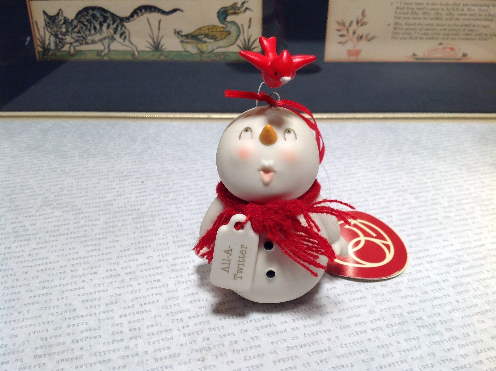All A Twitter Porcelain Snowman Figurine Ornament Red Bird and Real Knit Scarf