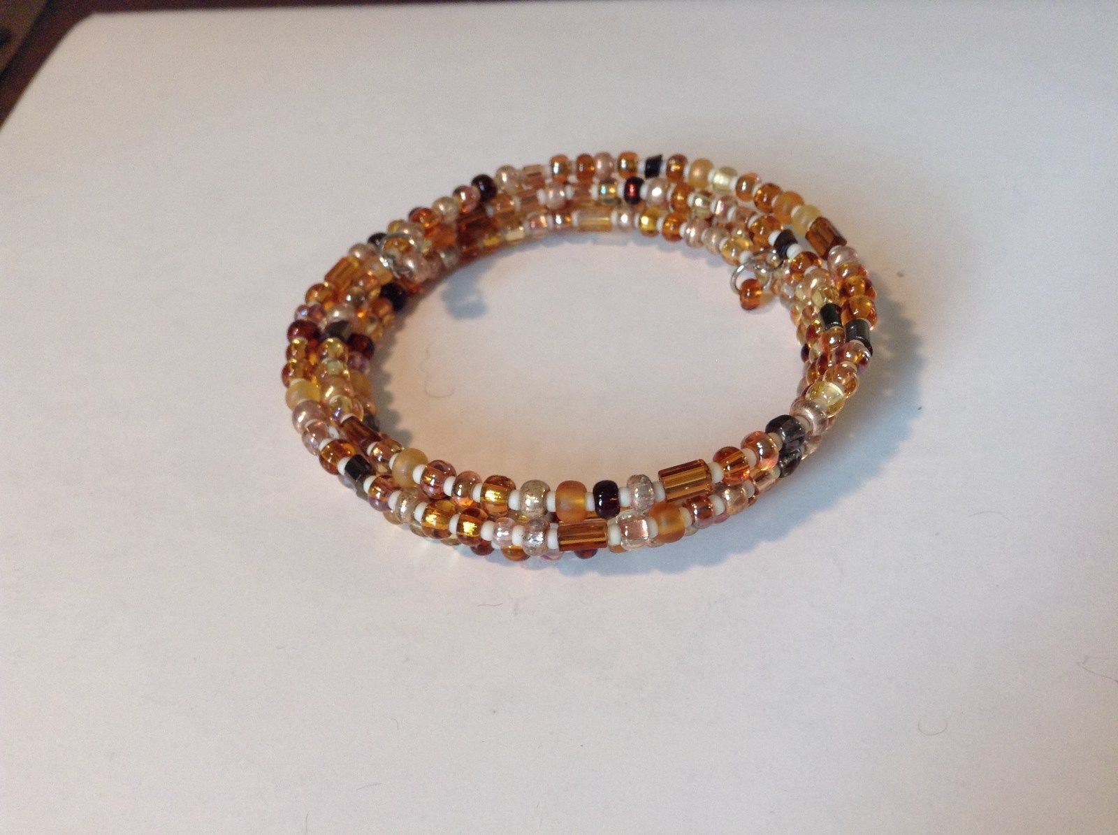 Amber Colored Shiny Beaded Coil Adjustable Bracelet
