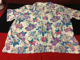 Alfred Dunner Ladies Size 44 Floral Brown Blue Hot Pink Blouse Made in Indonesia