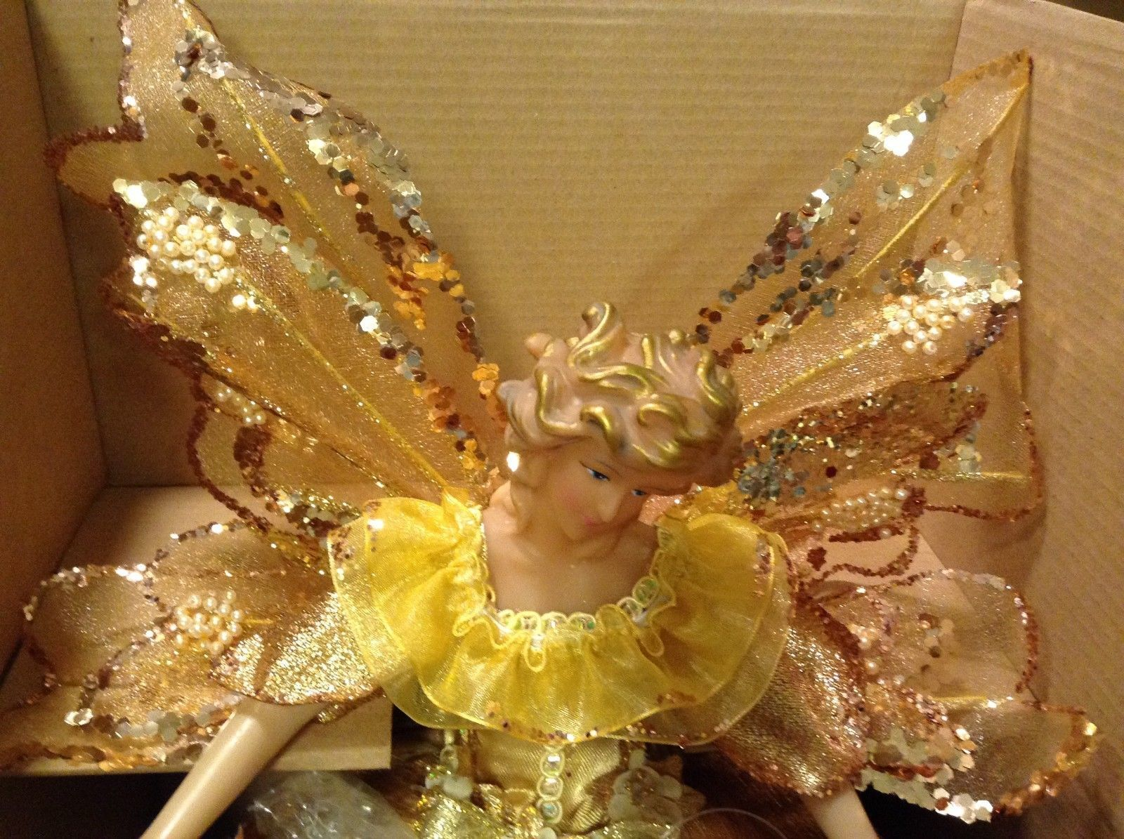 Angel Christmas tree or table topper Gold Angel w glitter petals wings 15 inches
