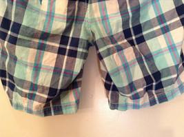 Aeropostale Turquoise Blue Plaid Shorts Size 1 to 2 Front and Back Pockets image 6