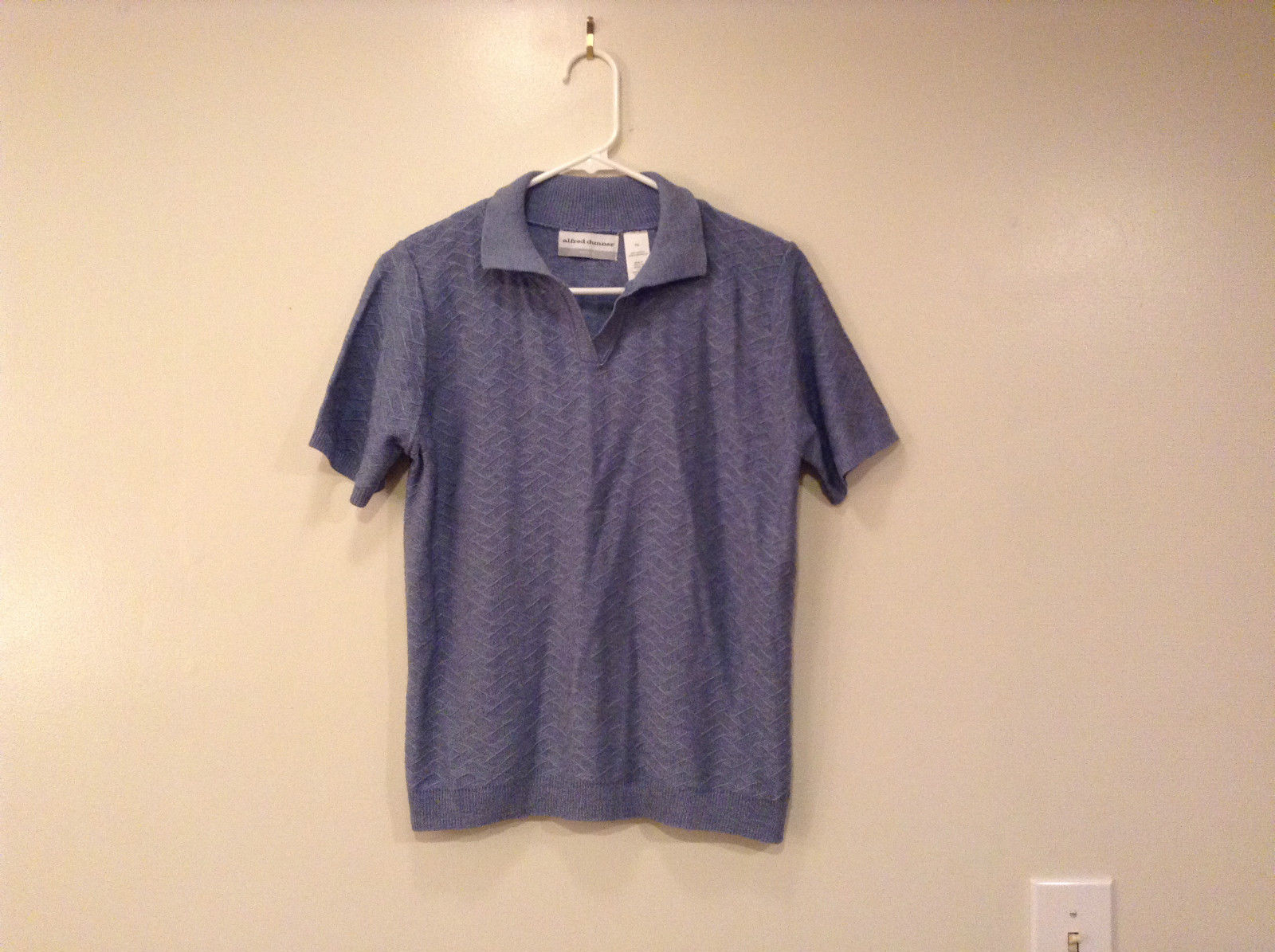 Alfred Dunner Petite Short Sleeve V Neck Blue Gray Acrylic Polo Blouse Size PS