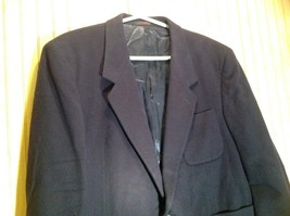 Aldo DiFirenze Black Sports Coat Blazer Dark Purple Satin Inside Size 44 image 2