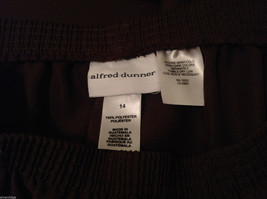Alfred Dunner Dark Brown Elastic Waist 100% Polyester Casual Pants, Size 14 image 7
