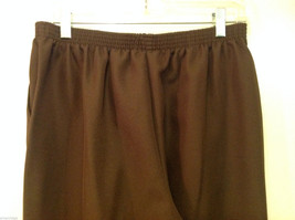 Alfred Dunner Dark Brown Elastic Waist 100% Polyester Casual Pants, Size 14 image 5