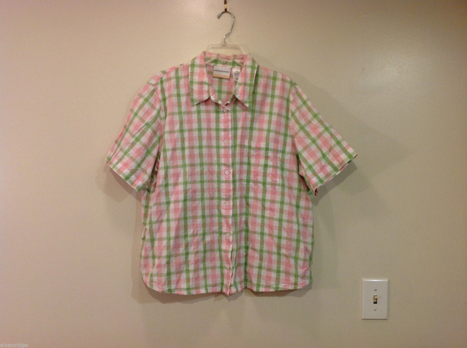 Alfred Dunner Woman Summer 100% Cotton Short Sleeve Plaid Shirt, Size 18W