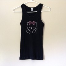 American Apparel Classic Girl Hello Kitty Black Tank Top Size Large