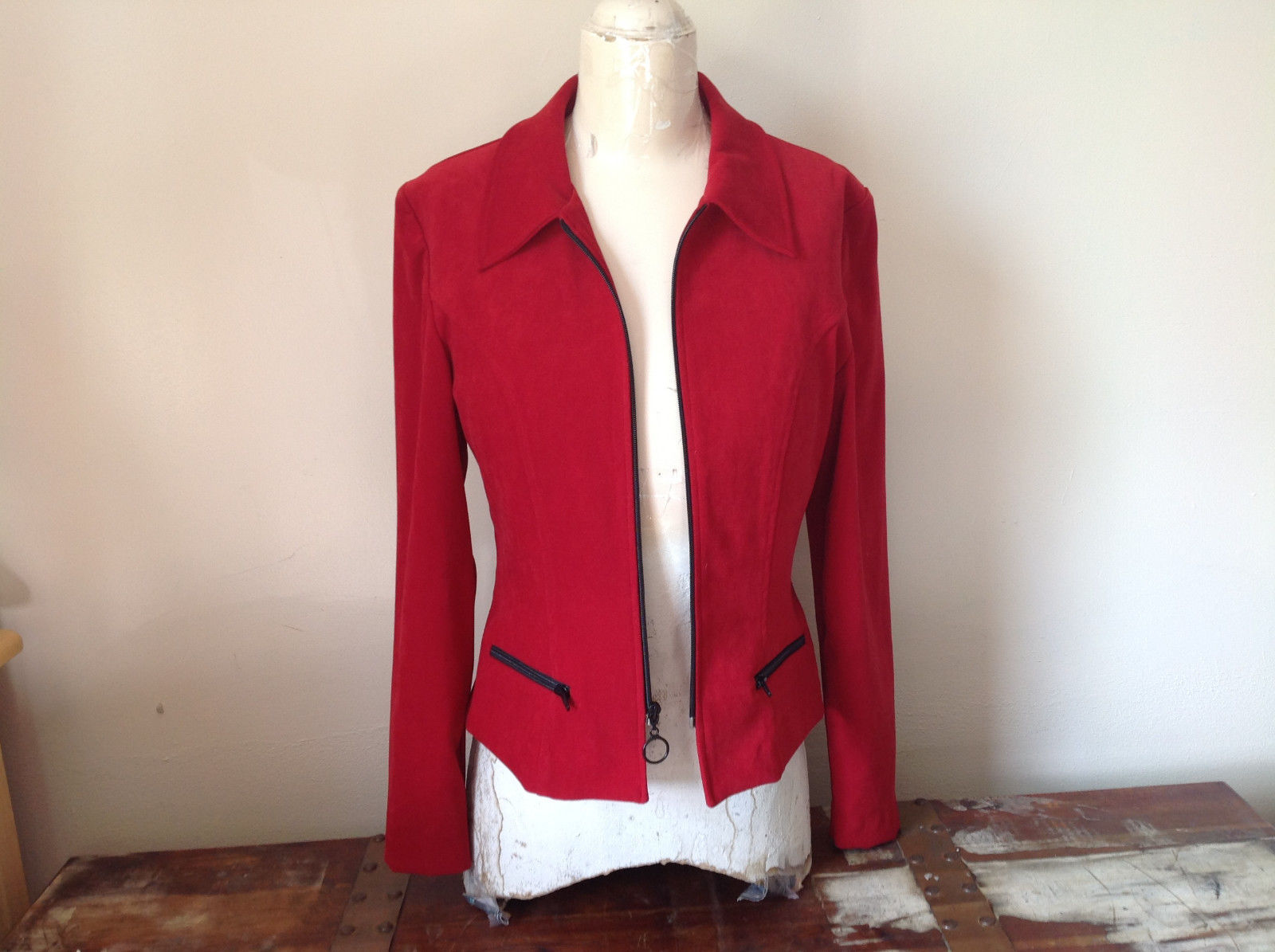 Amanda Smith Short Red Zipper Dress Jacket Perfect Condition Size 6