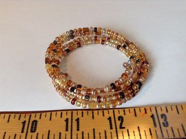 Amber Colored Shiny Beaded Coil Adjustable Bracelet image 5