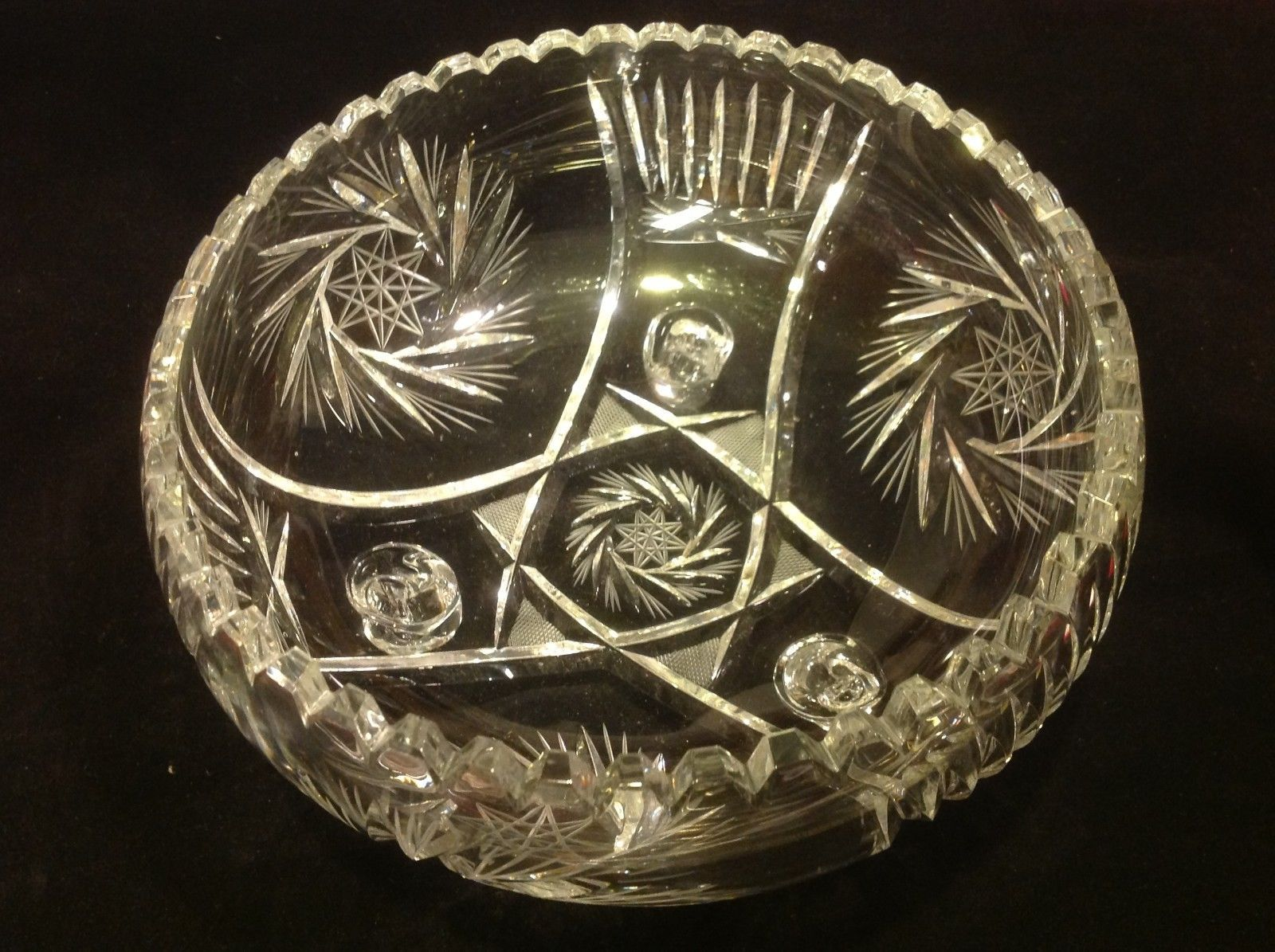 American Brilliant cut crystal glass medium three foot round bowl vintage estate