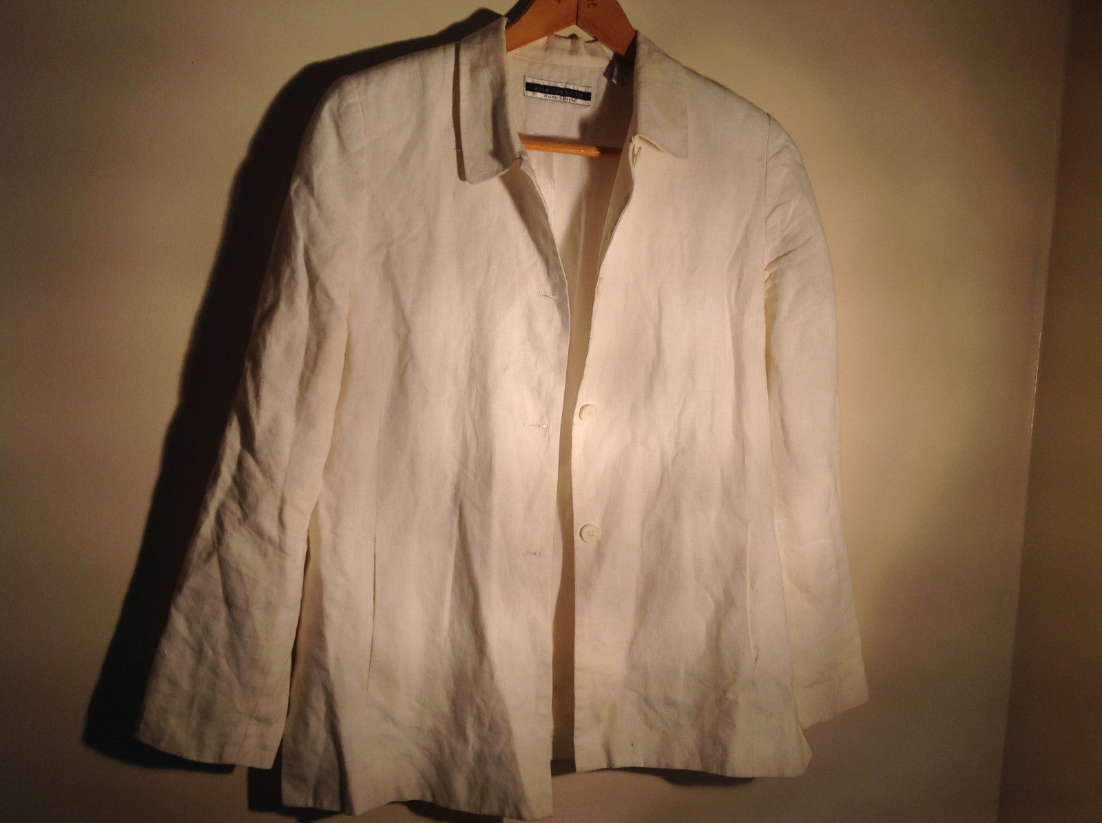 Amanda Smith Pure Linen Long Sleeve White Shirt Size 16