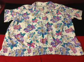 Alfred Dunner Ladies Size 44 Floral Brown Blue Hot Pink Blouse Made in Indonesia image 2