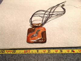Amber Orange Square Pendant Necklace with Light Brown Crystals Multi Strand image 6