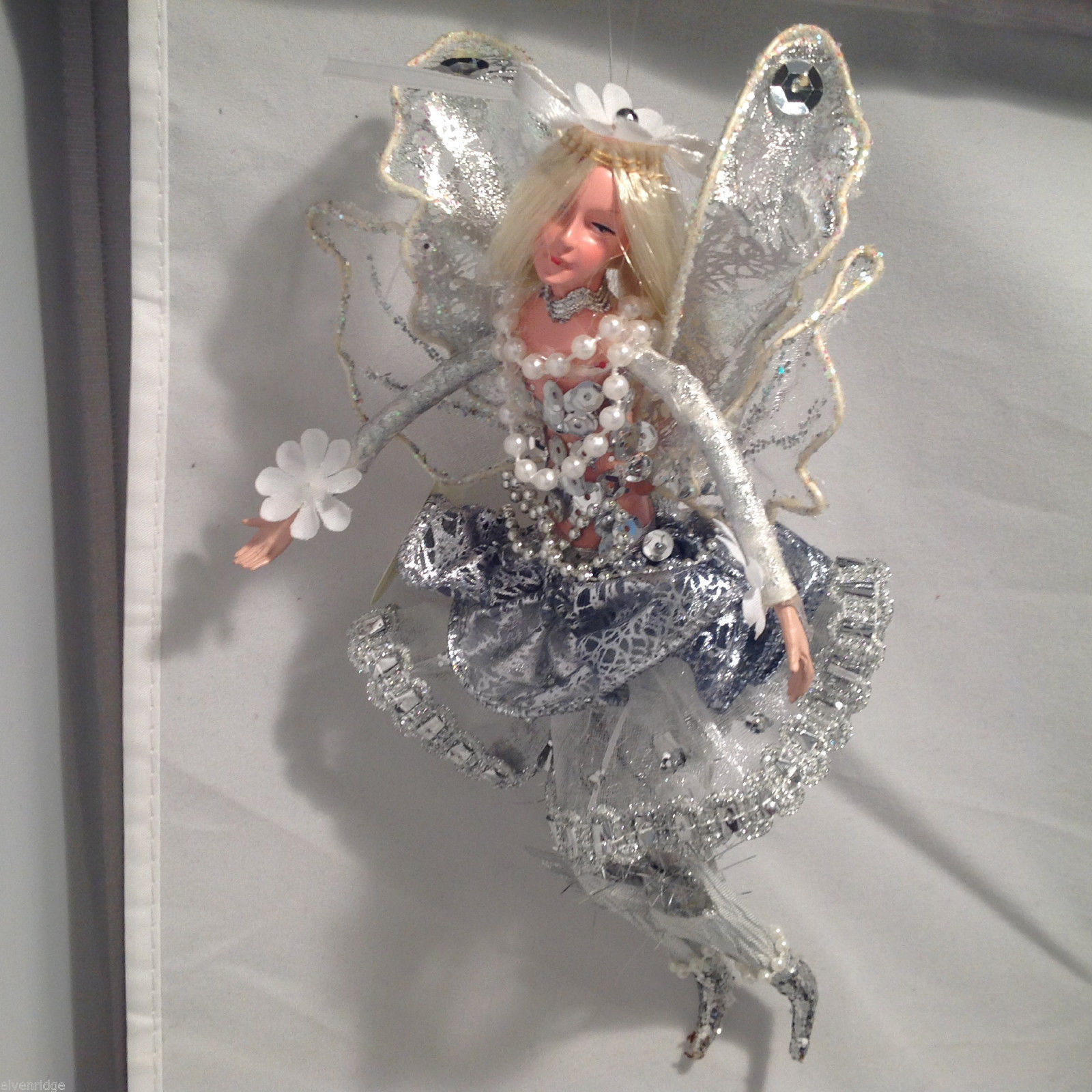 American Silkflower Hanging Silver Skirt Fairy Angel, Hand Painted Face