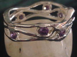 Amethyst Dotted Hammered Rustic Sterling Silver Weaver Ring Size Choice 7 or 8 image 1