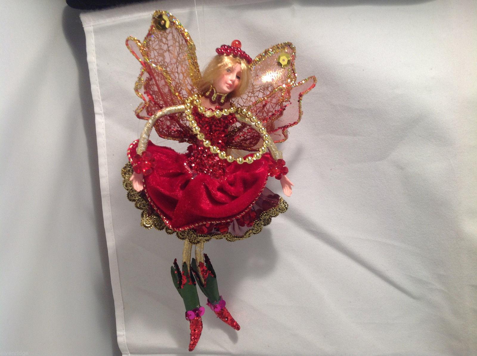 American Silkflower Hanging Skirt Fairy Angel Burgundy, Hand Painted Face
