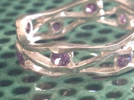 Amethyst Dotted Hammered Rustic Sterling Silver Weaver Ring Size Choice 7 or 8 image 6