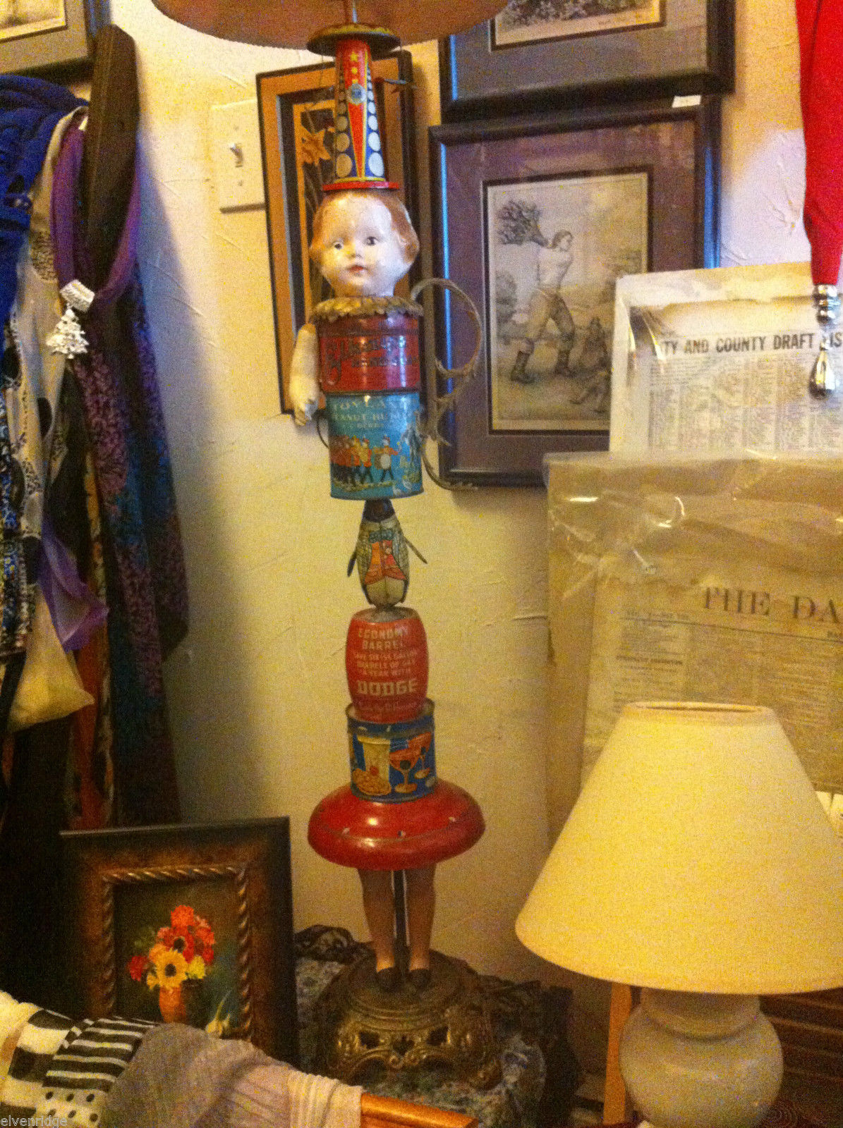 American artifacts table lamp US tins toys w tin airplane vintage Planter's can