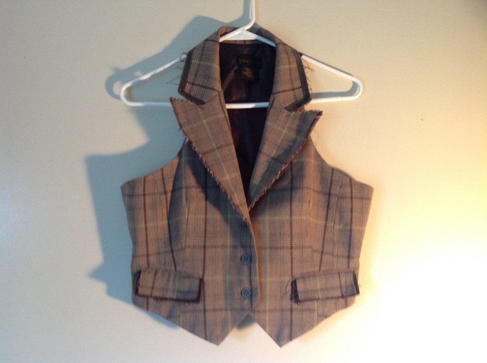Andren Company Size Large Brown Plaid V Neck Collared Vest