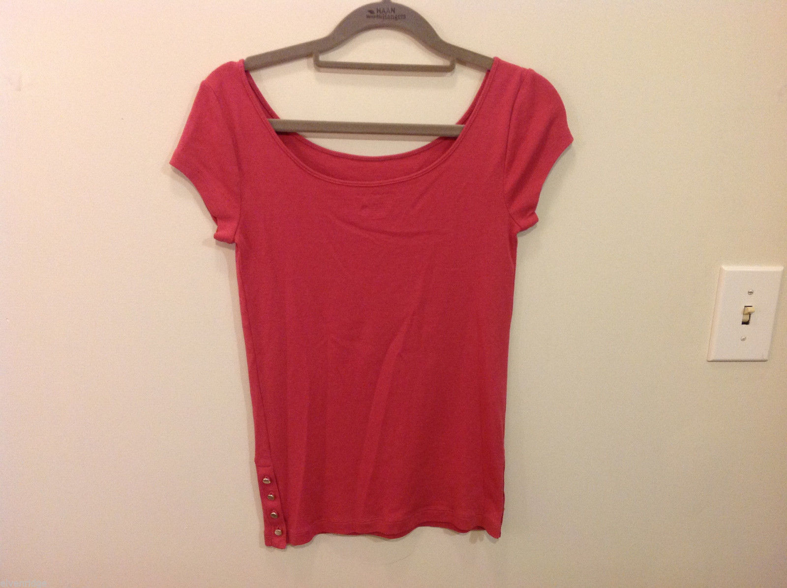 Ann Taylor 100% Cotton Crew Neck Pink Short sleeve Blouse Top, Size S