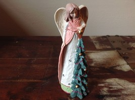 Angel Figurine Preparing Holiday Tree Figurine Pink Green Gold with Crys... - $39.99