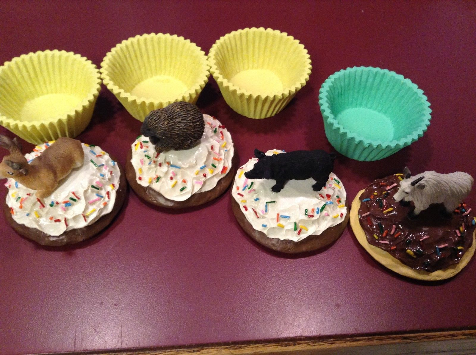 Animal cupcake trinket box seconds Deer buck porcupine black pig mountain goat