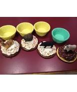Animal cupcake trinket box seconds Deer buck porcupine black pig mountai... - $14.84
