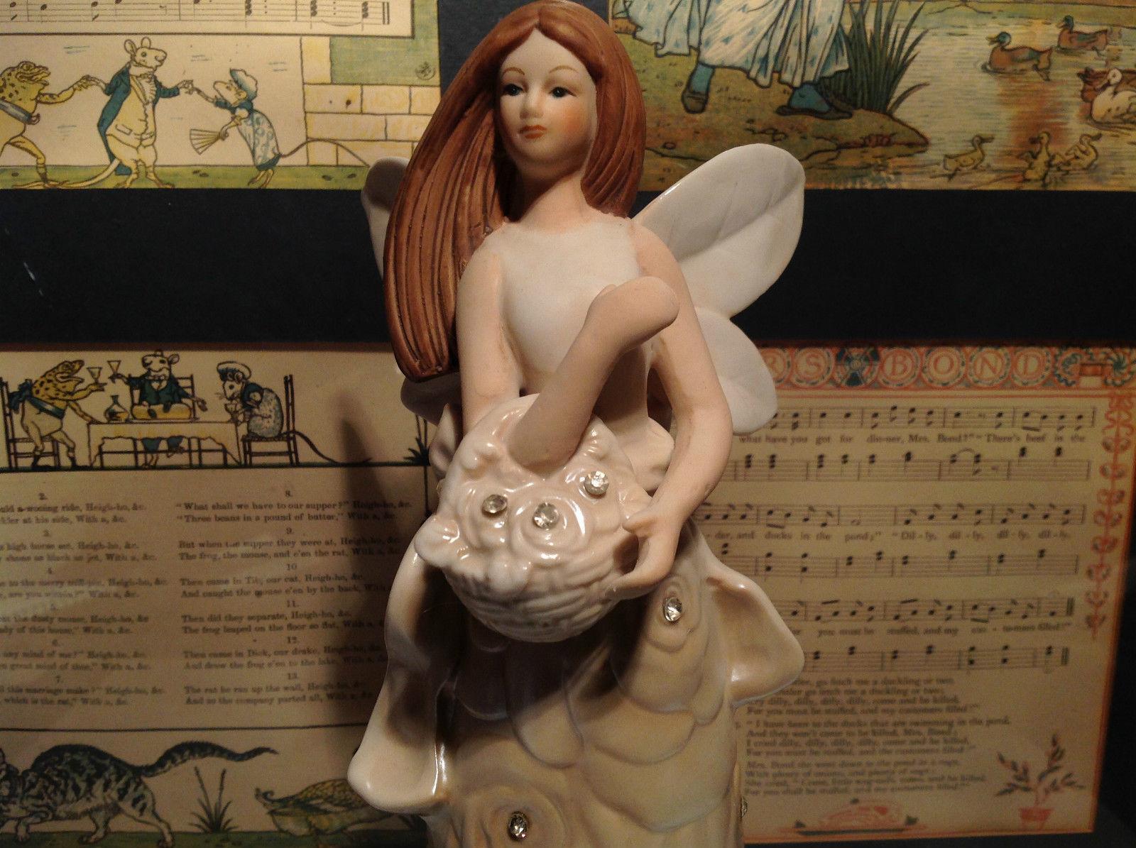 Angel Holding Basket Tall Rose Angel Porcelain Figurine Crystals on Dress