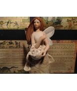 Angel Holding Basket Tall Rose Angel Porcelain Figurine Crystals on Dress - $44.54