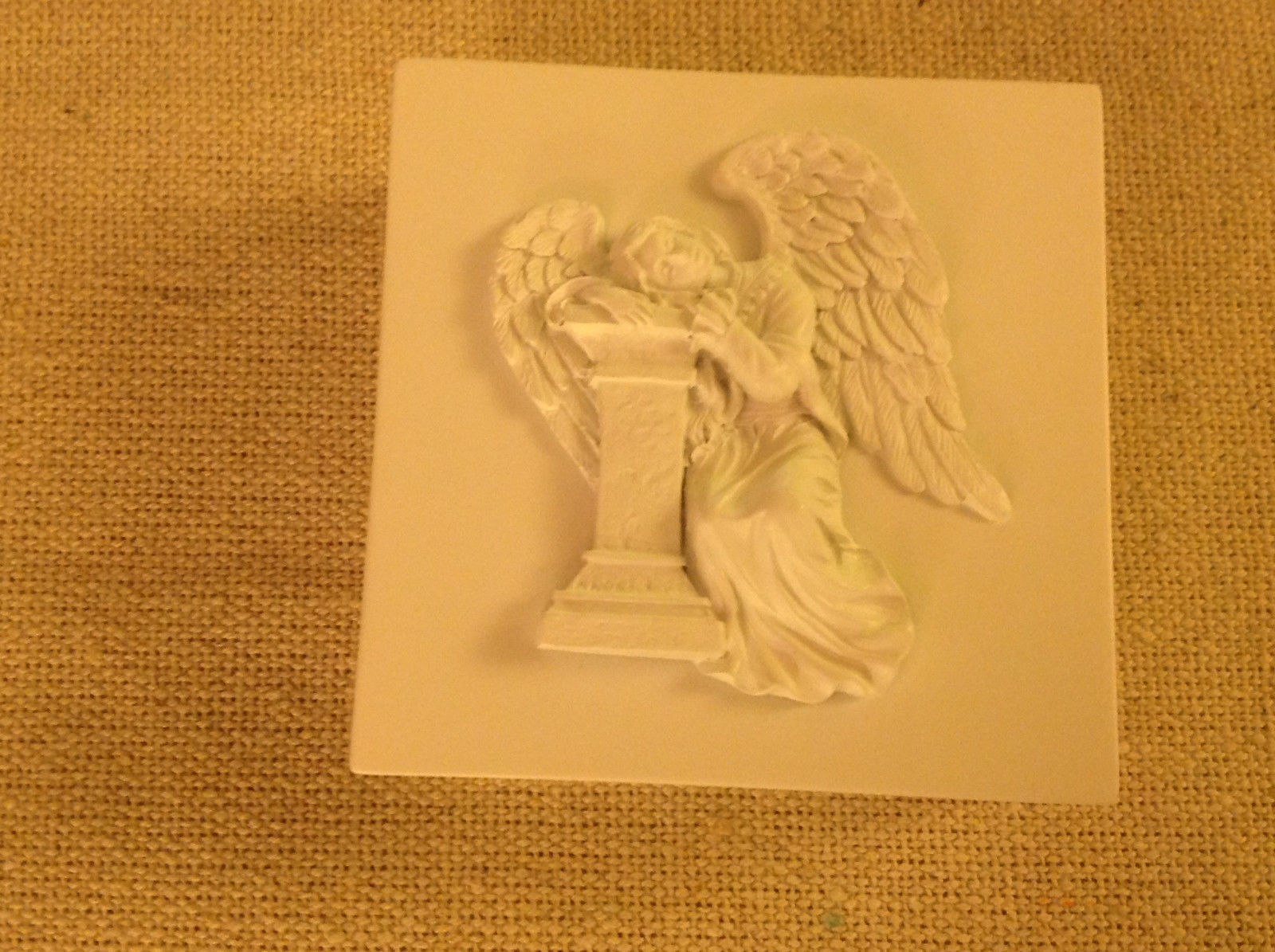 Primary image for Angel trinket box  with angel resting head on pillar cream colored