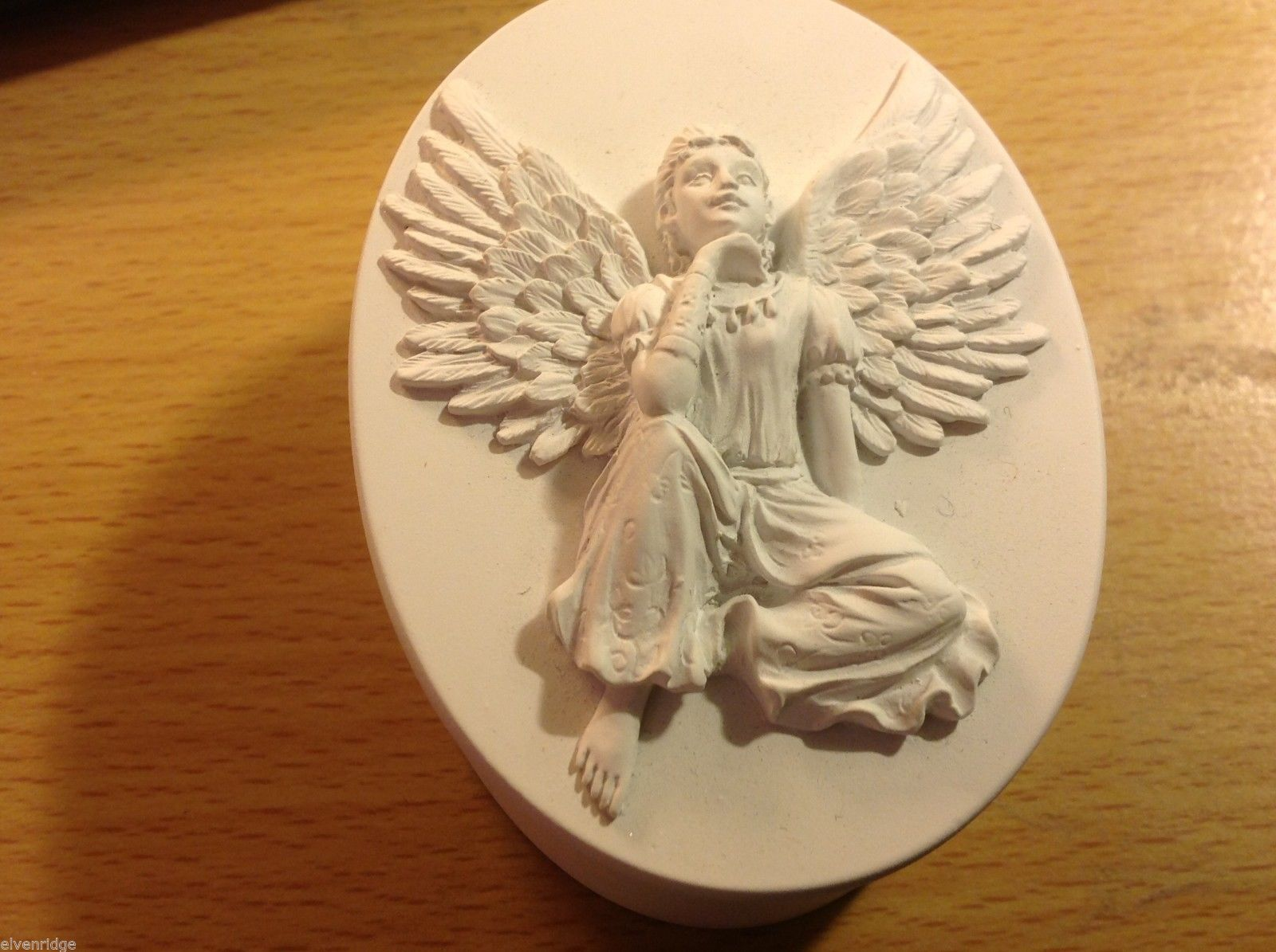 Primary image for Angel trinket box  oval with young girl angel on lid and wings inside