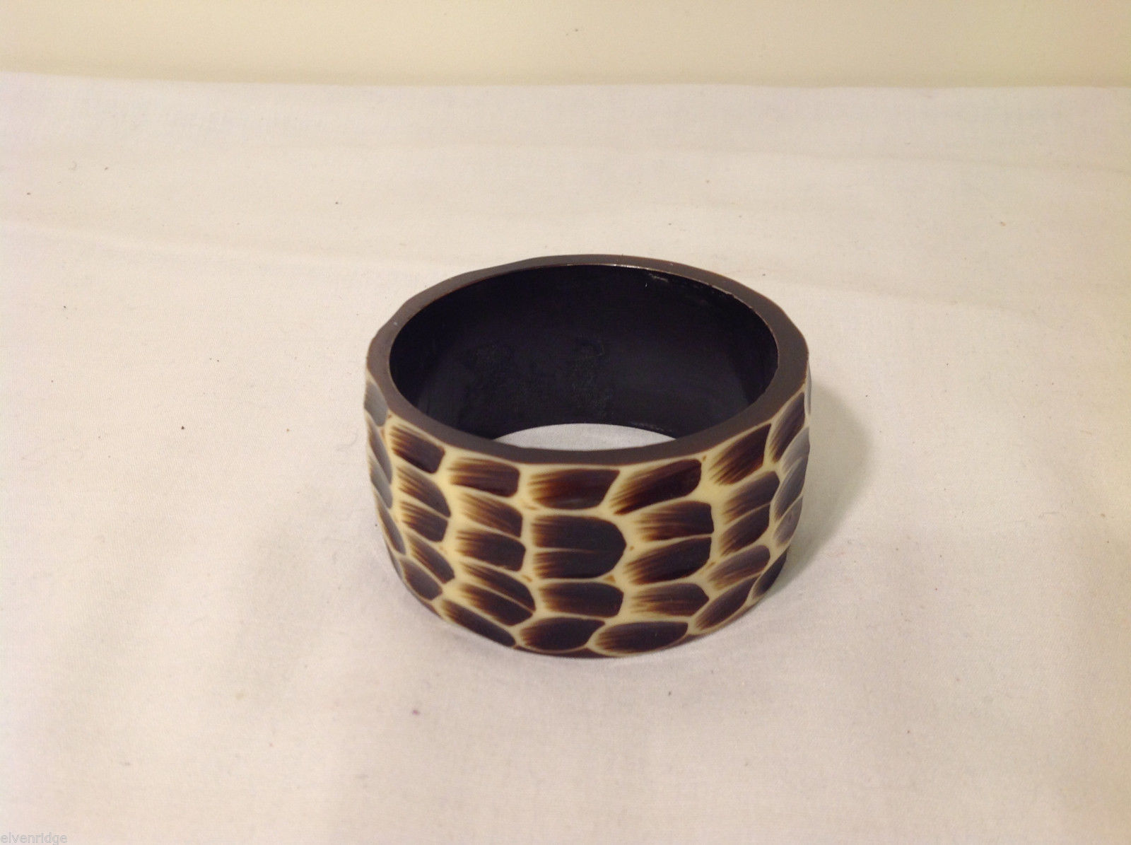 Animal Leopard print Wide Cuff Bracelet, Plastic, Brown Beige